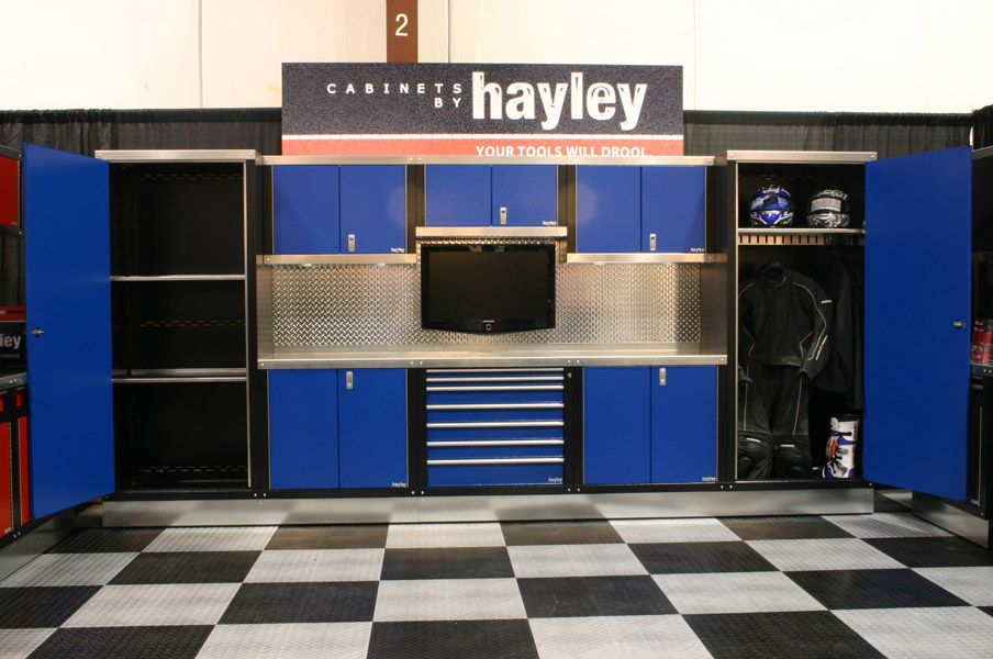 Ft Garage Blue Cabinets Are Pretty Cool Love The Motorcycle Gear