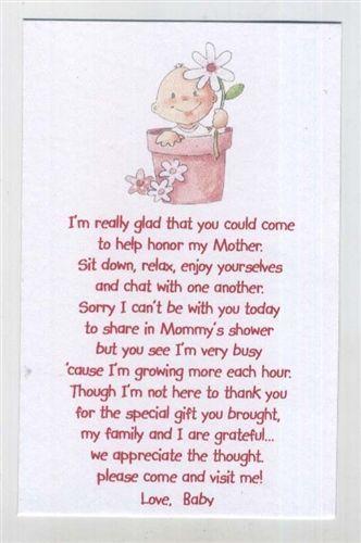 Baby Shower Poems, Baby Shower Cards Keepsake