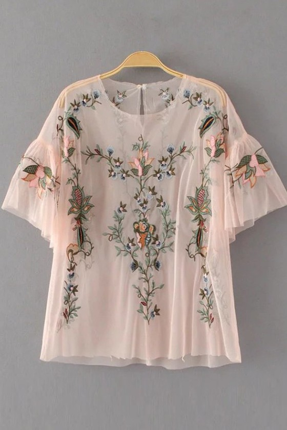 Vintage Blouse; Short Sleaved Cream Pleated with Lace Trim and Flower Embroidery Top