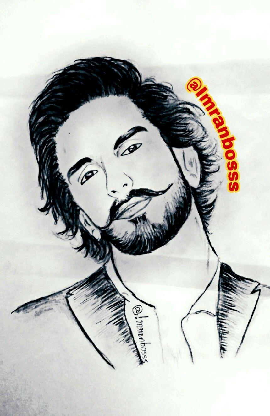 Bollywood actor ranveer singh portrait pencil drawing