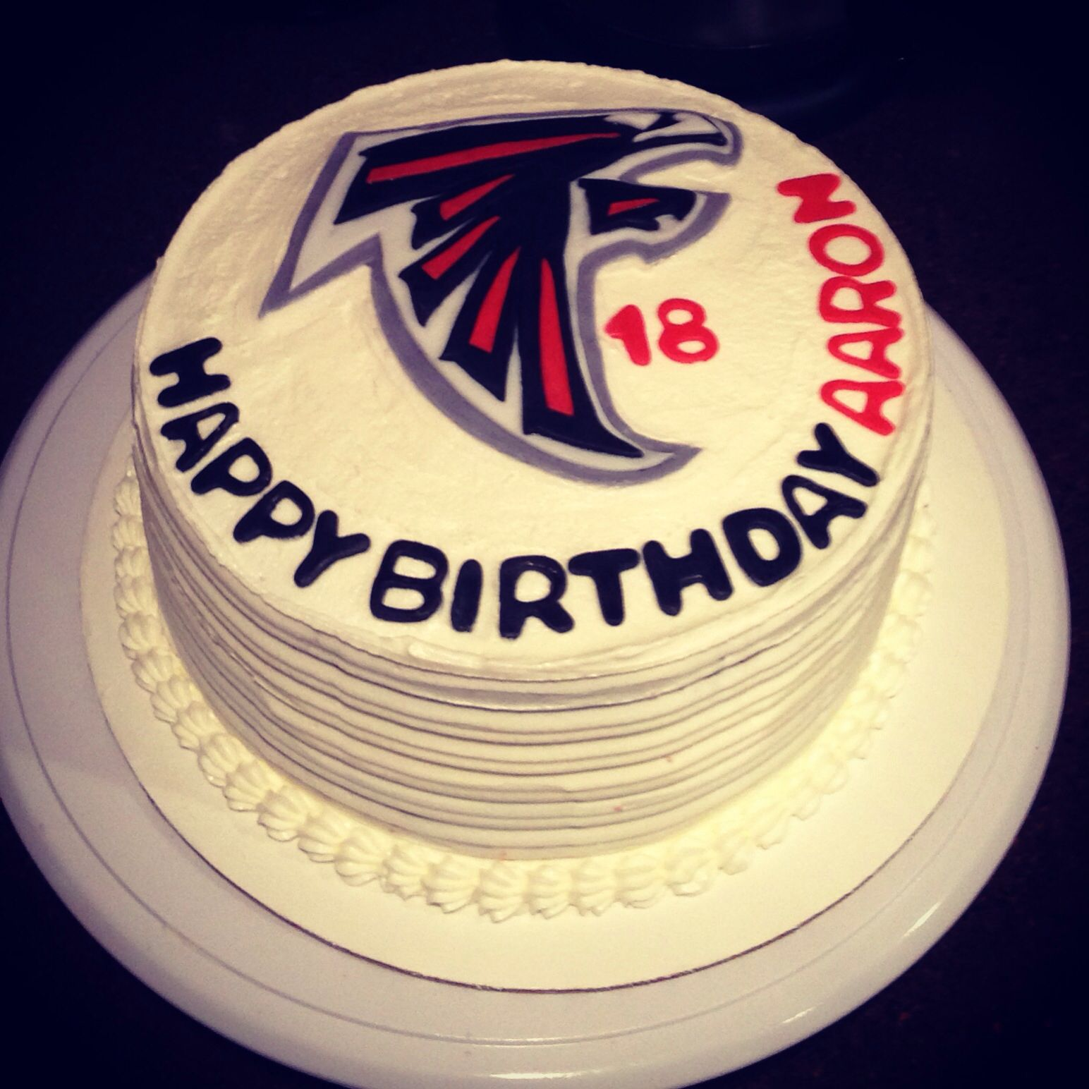 Made My Nephew A Atlanta Falcon Buttercream Cake For His 18th Birthday. (Last Minute Idea.) Love