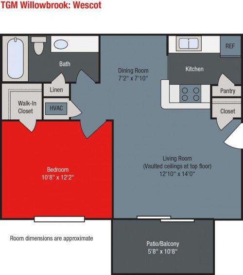 Tgm Willowbrook Apartments 1 Bedroom Floorplan Floor Plans Vaulted Ceiling Living Room Small House Plans