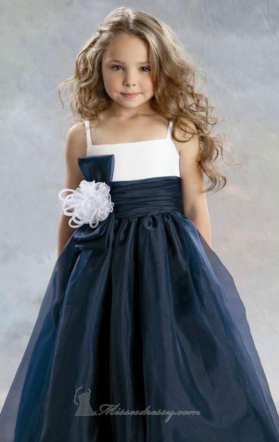 Tirantes azul marino azul Organza blanco de la princesa Vestidos ...