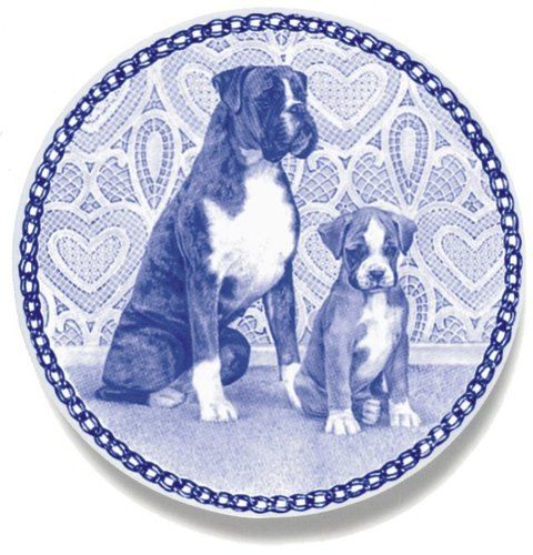 Dog Plates - Boxer Danish Blue New Design Porcelain Collectors. Obv I really need a set of 20.