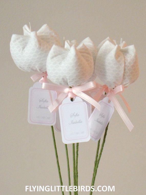 Fabric Tulip Flowers Home Décor Favor Baby Por Flyinglittlebirds Bautizo Primera Comunión Pinterest Handmade Wedding Favours And
