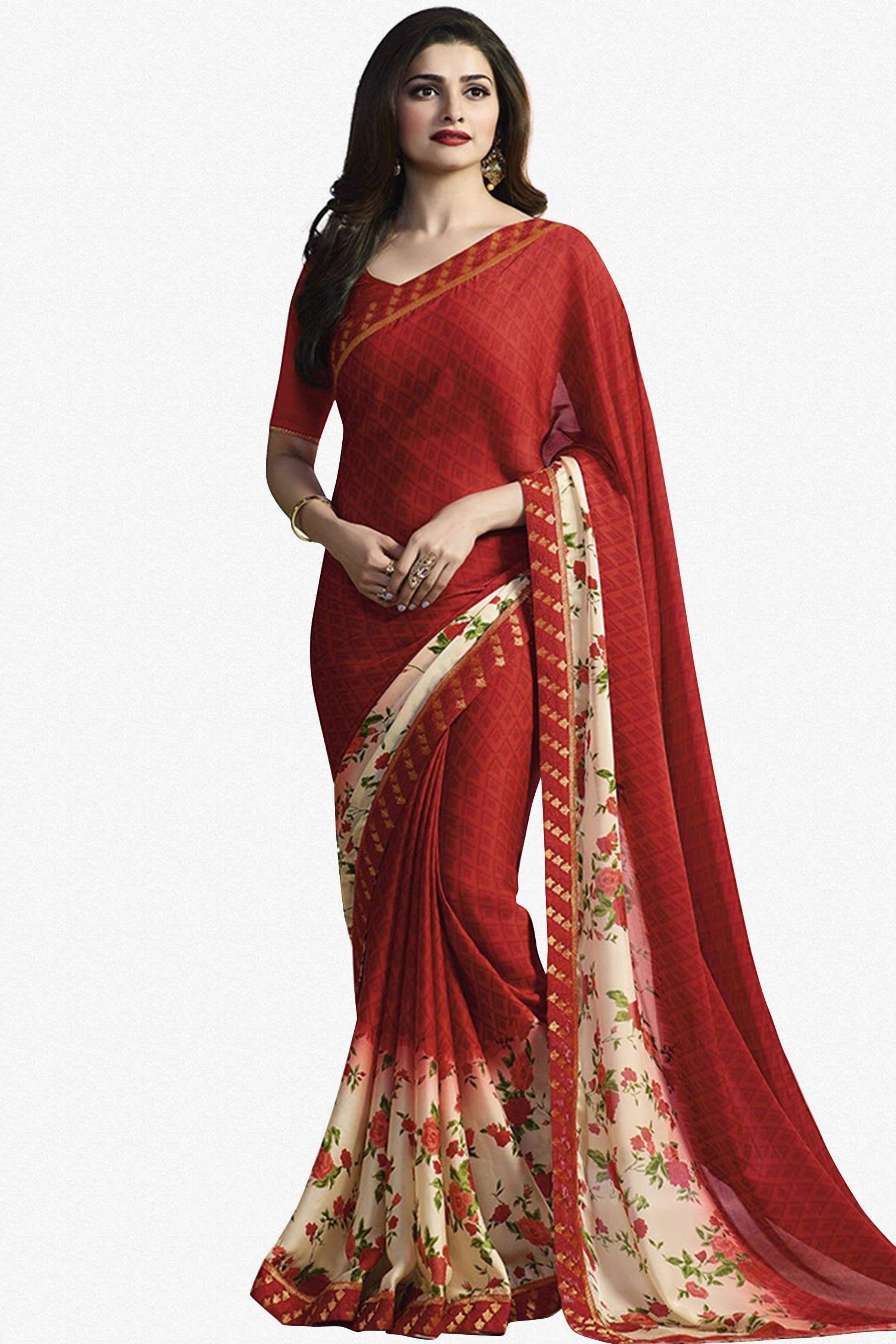 67096fc37e Designer Saree:atisundar wonderful Designer Party Wear Saree Featuring  Prachi Desai in Red - 13733