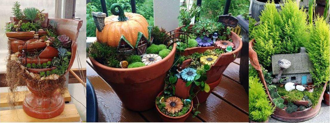 Crea+hermosos+mini+jardines+reutilizando+macetas+rotas #minijardines