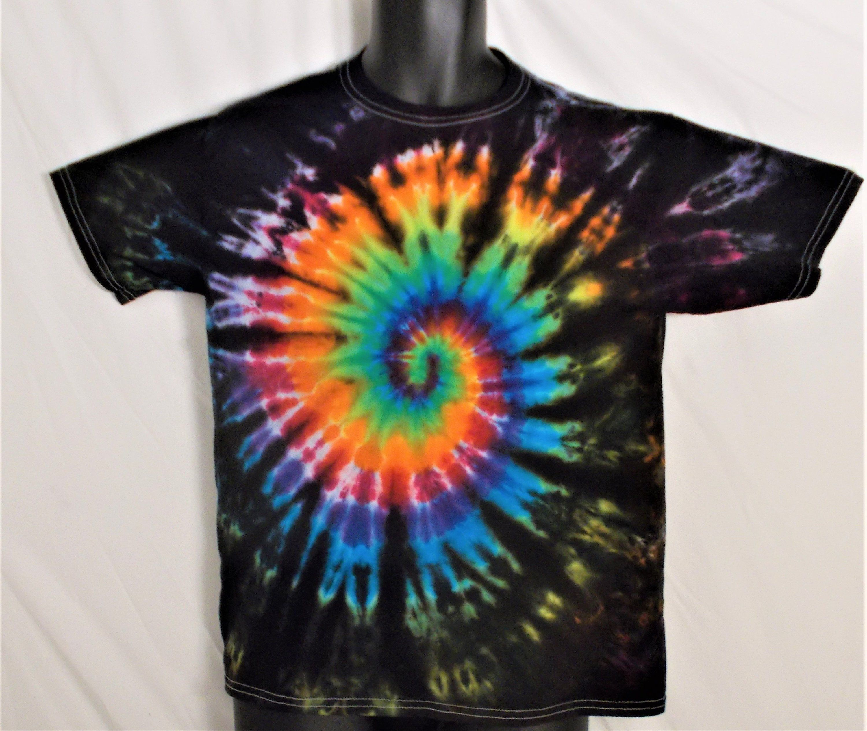 9098503f Kids XL Tie Dye, Youth size 18-20, Fun Birthday Gift, Edgy Tie Dye, Rainbow  and Black shirt, Kids Trippy Clothing, Festival Shirt for kidxl by ...