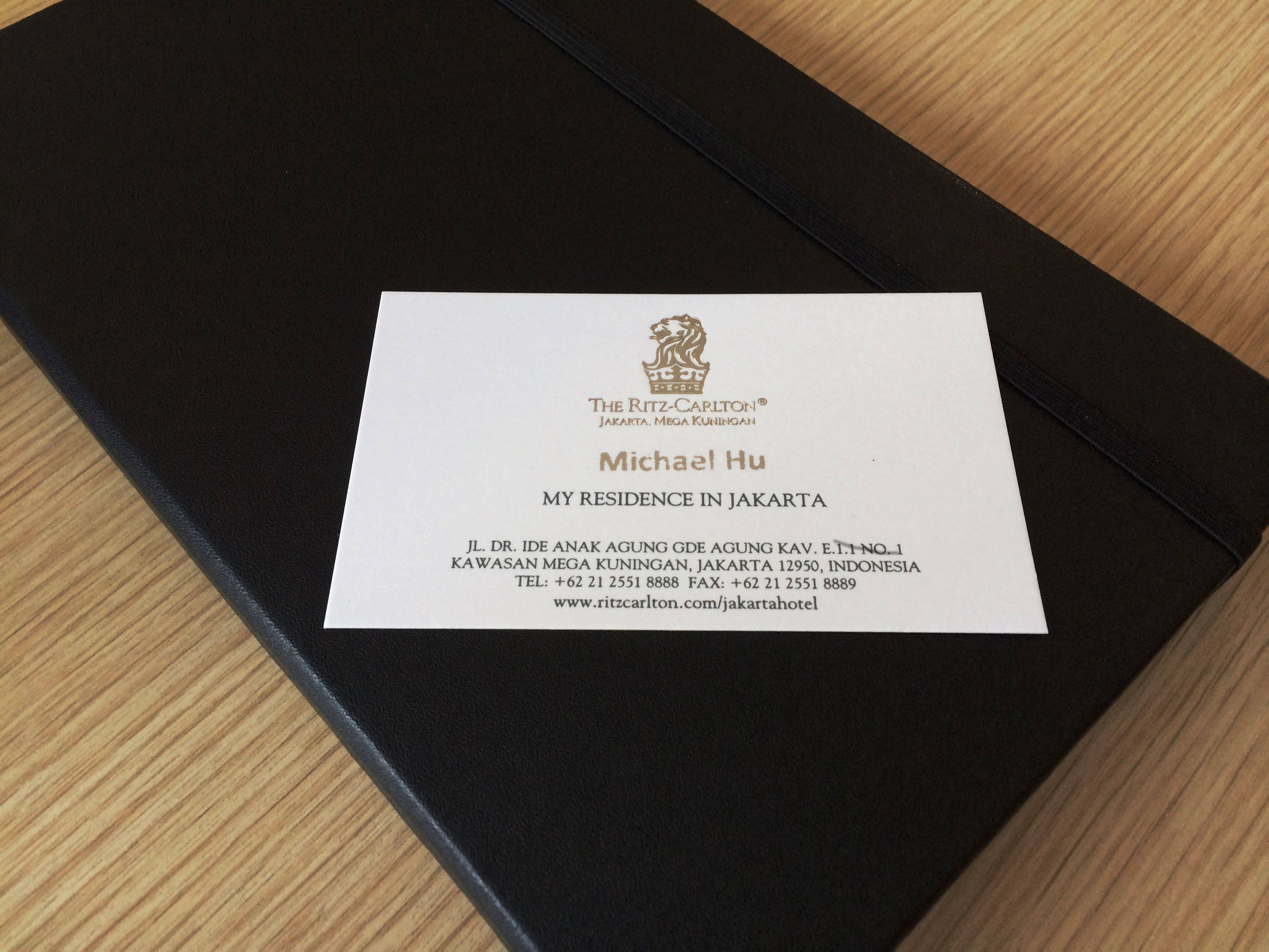 Customized business card from the Ritz Carlton, Jakarta | My Hotel ...