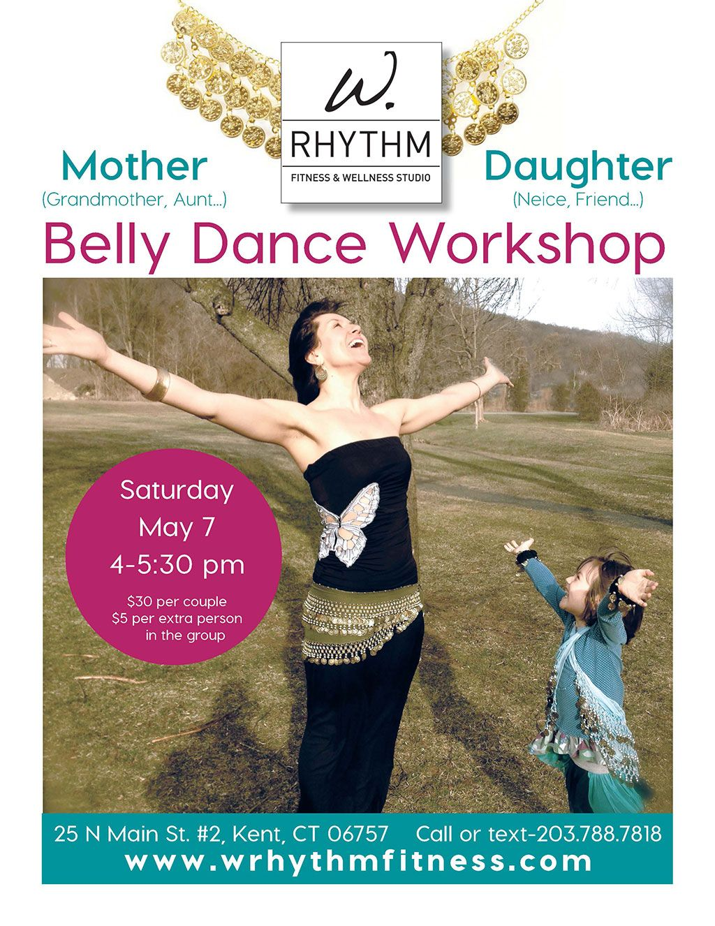 BELLY DANCE WORKSHOP Join us for a fast paced, high energy workout all based on belly dance moves. You will work your hips, abs, back and arms in all sort of new ways. Challenge your mind, muscle control, balance and flexibility while burning calories in this great experience!