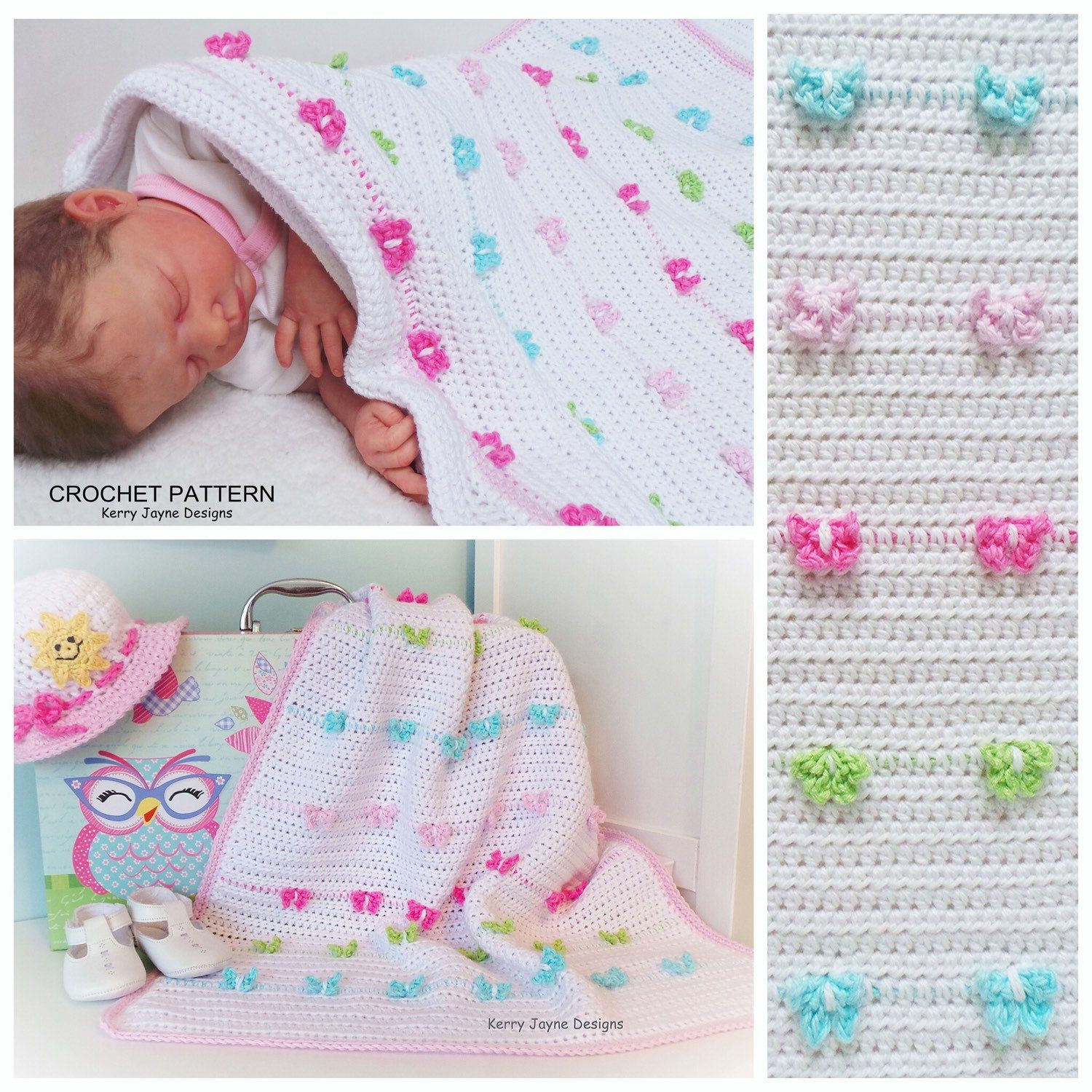 The Butterfly Parade Baby Blanket Pattern modelled by Baby Rosie 💕 Designed By Kerry Jayne Designs