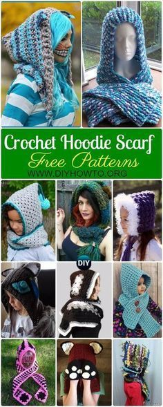 Crochet Hoodie Scarf Scoodie Free Patterns | Crochet, Scarves and ...