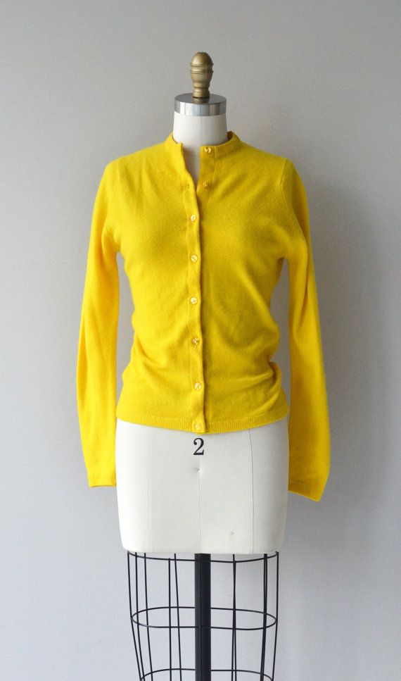 Vintage 1950s bright mustard yellow cashmere cardigan with slim fit. --- M E A S U R E M E N T S ---  fits like: xs/small shoulder: 14 bust: 32-36