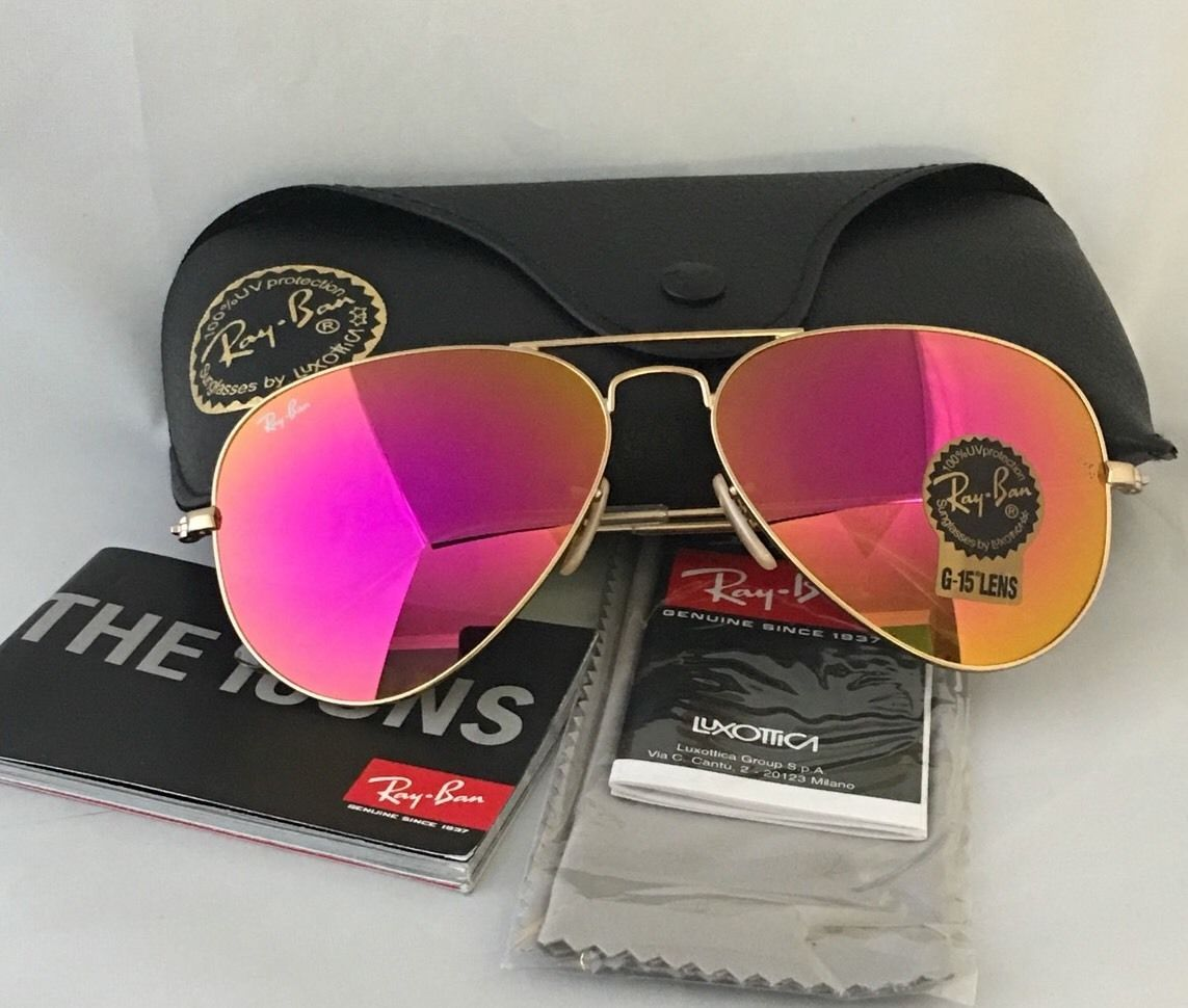 d835deea9ea NEW AUTHENTIC RAY BAN AVIATOR PINK AVIATOR SUNGLASSES MODEL 012 Gold frame  Pink Lenses
