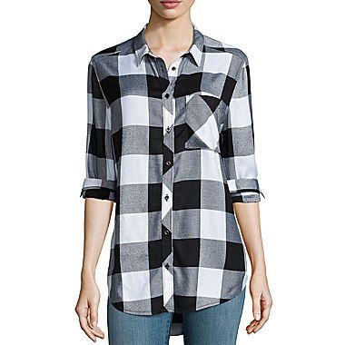 jcp | Arizona Long-Sleeve Boyfriend Plaid Shirt- Juniors