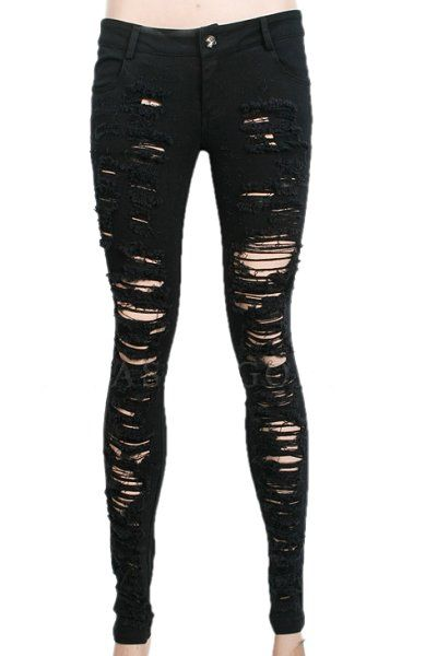 08982108af7d0 Destroyer black ripped jeans made from black denim with fraying across the  front.