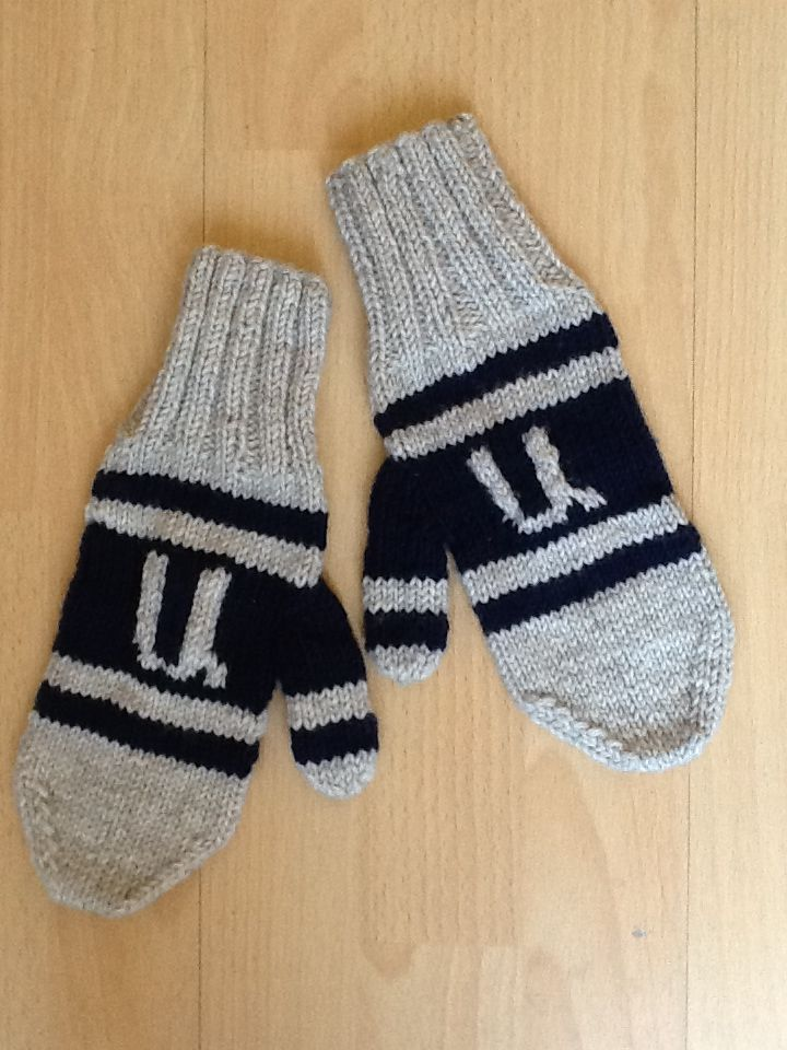 Mittens with any letter on them can be made. A perfect Christmas gift.
