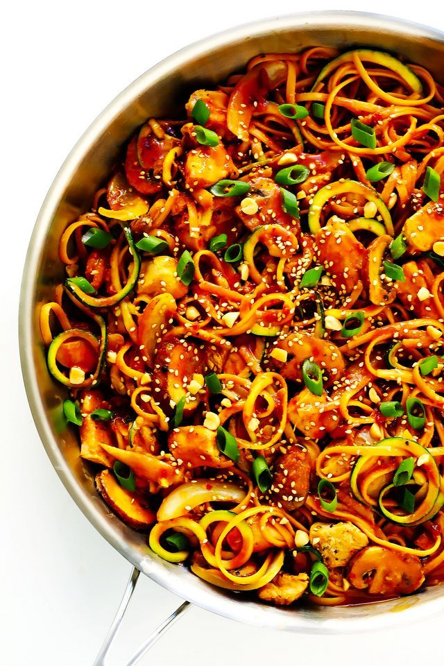 this kung pao chicken noodle stirfry recipe is quick and
