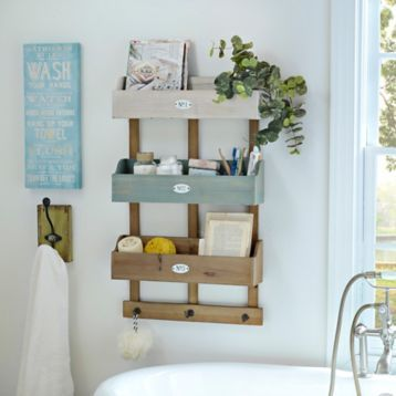 Rustic 3-Crate Wooden Wall Organizer | Wooden walls, Crates and ...