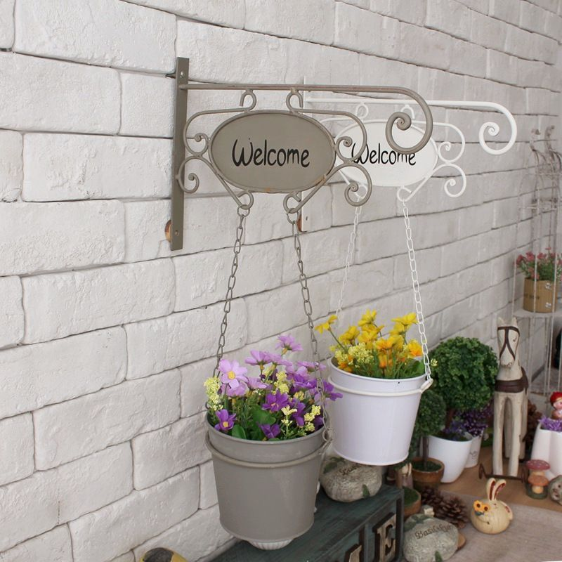 American pastoral style wrought iron hanging baskets 1pc wall pot american pastoral style wrought iron hanging baskets 1pc wall pot coffee shop clothing store garden pots workwithnaturefo