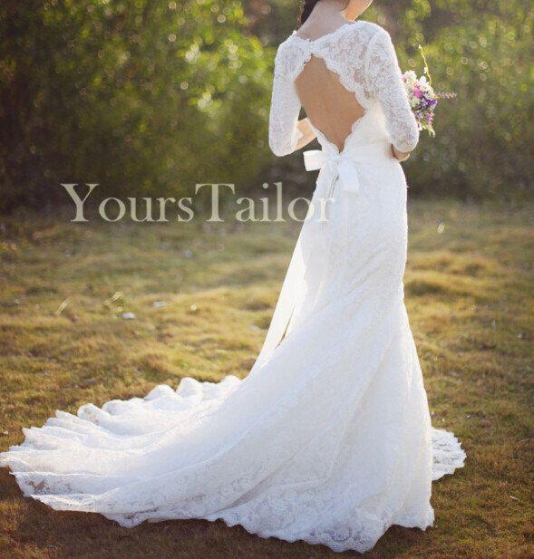 Custom Vintage V Neck 3/4 Sleeves Keyhole Lace Wedding dress Y158 by ...
