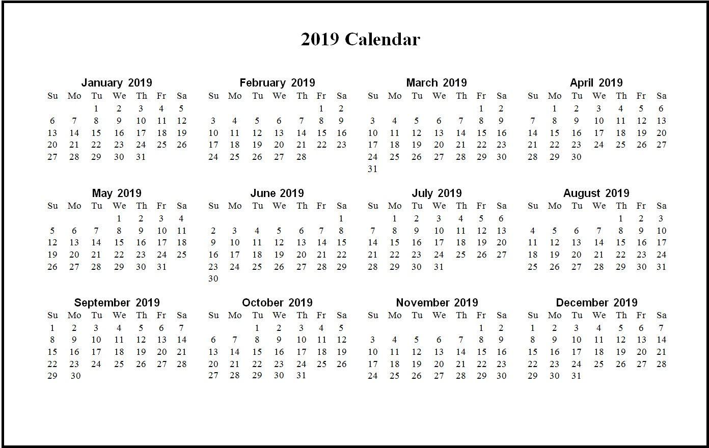 Printable 2019 Word Calendar Monthly Calendar Templates