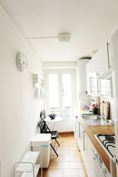 small vintage paris apartment - white french kitchen ...