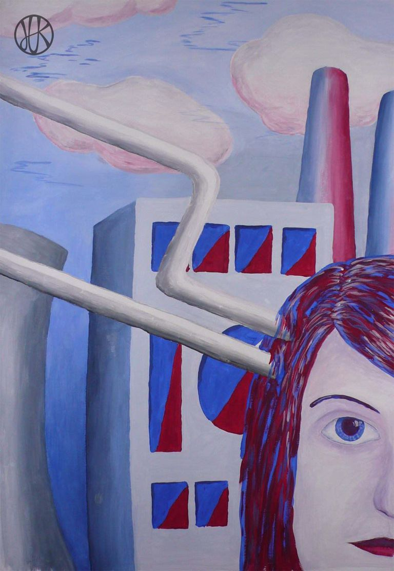 Painting #blue #red #girl #industrial #factory #tubing