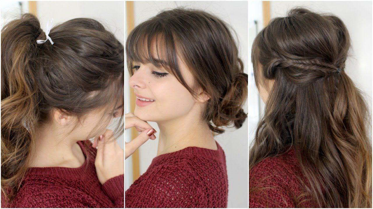 Cute Easy Hairstyles With Bangs Tutorial Youtube Hairstyles With Bangs Easy Hairstyles Hair Styles