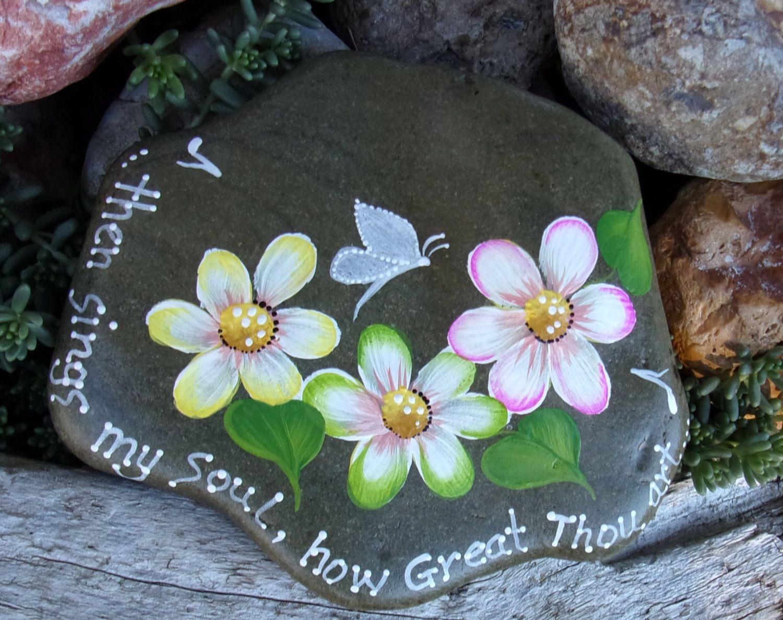 Hand Painted Idaho Rock-Inspirational-Daisy-White by Paintinstuff