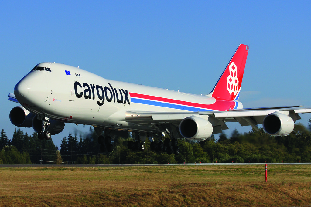 Cargolux 747-8F freighter taking off