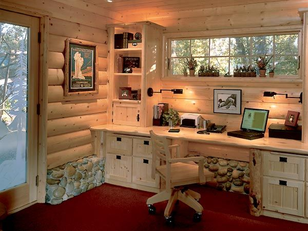 This Cabinlike Home Office Features A Pine Desk With Lots Of Storage Real River Rocks Hide The Foundation Wall Photo Jared Chandler Pinterest