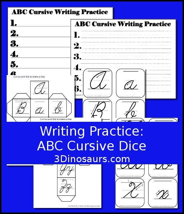 Writing Practice ABC Cursive Dice | Homeschool FREEbies | Pinterest ...