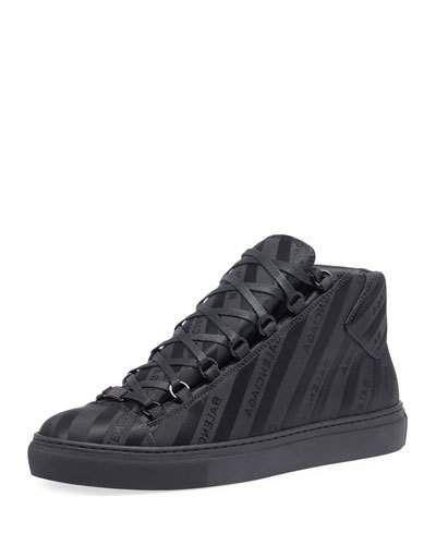 fd9cd2593c87 BALENCIAGA MEN S ARENA STRIPED LEATHER MID-TOP SNEAKER.  balenciaga  shoes