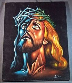 Jesus Christ Crown Of Thorns Artistic Black Velvet Oil…