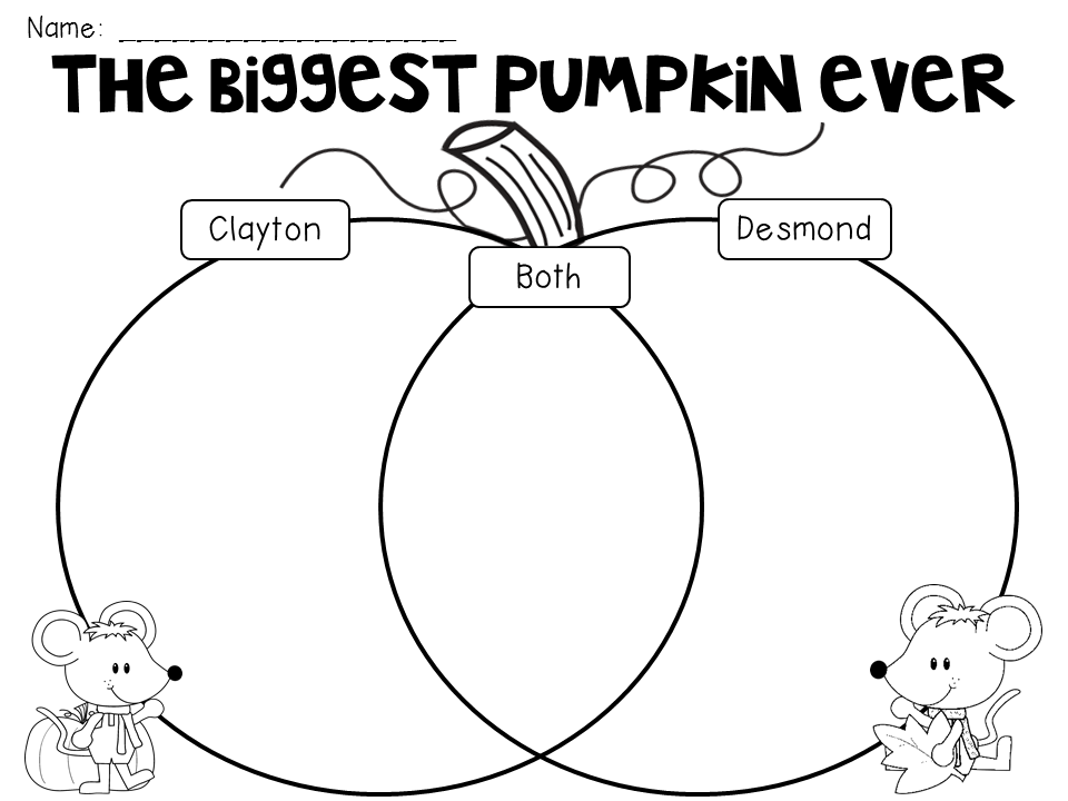 biggest pumpkin ever venn diagram graphic organizer