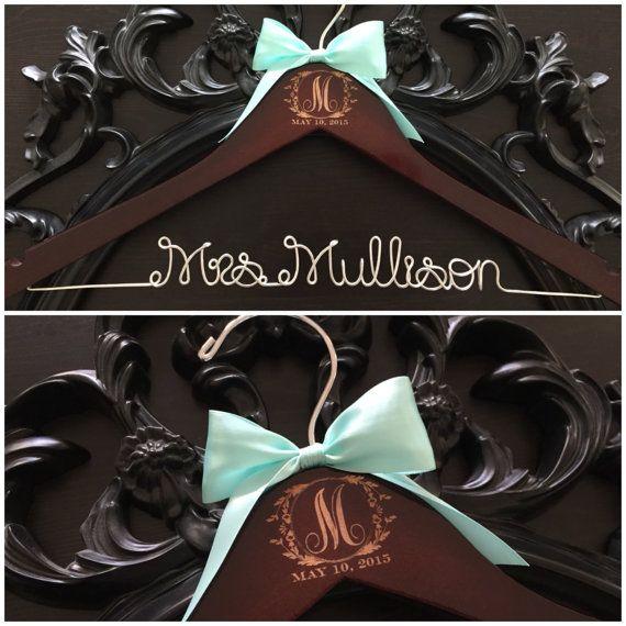 Wedding Hanger, Monogram Hanger, Bride Hanger, Wedding Monogram, Mrs. Hanger, Vintage Wedding, Rustic Wedding, Personalized Wedding Gift