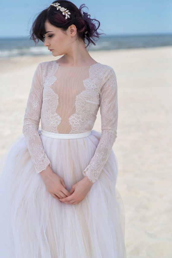 Zephyra - long sleeved bridal bodysuit. The lace goes up to the hip bone and b7d21a3be