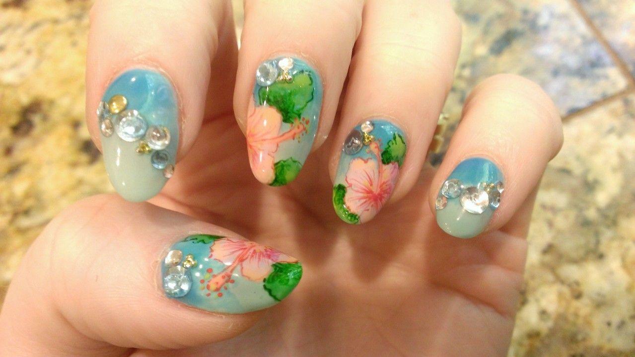 hand painted hawaiian-themed
