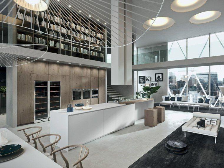 Loft contemporain 55 exemples inspirants lustre blanc for Lustres design contemporain