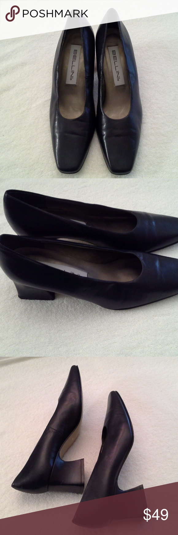 d5f10a932a0 Vintage Bellini Navy Leather Pumps Leather upper 2
