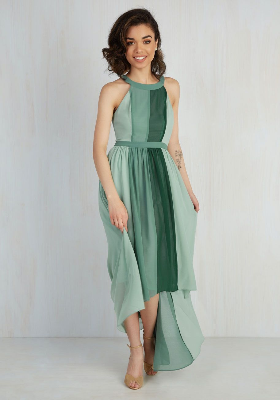 0fb71ea33cc89b ... maxi - part of our ModCloth namesake label! Featuring roomy pockets, a  gathered waist, and an elegant high-low hem, this sage and forest green  dress ...