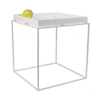 Tarjotinpöytä keskikokoinen, valkoinen