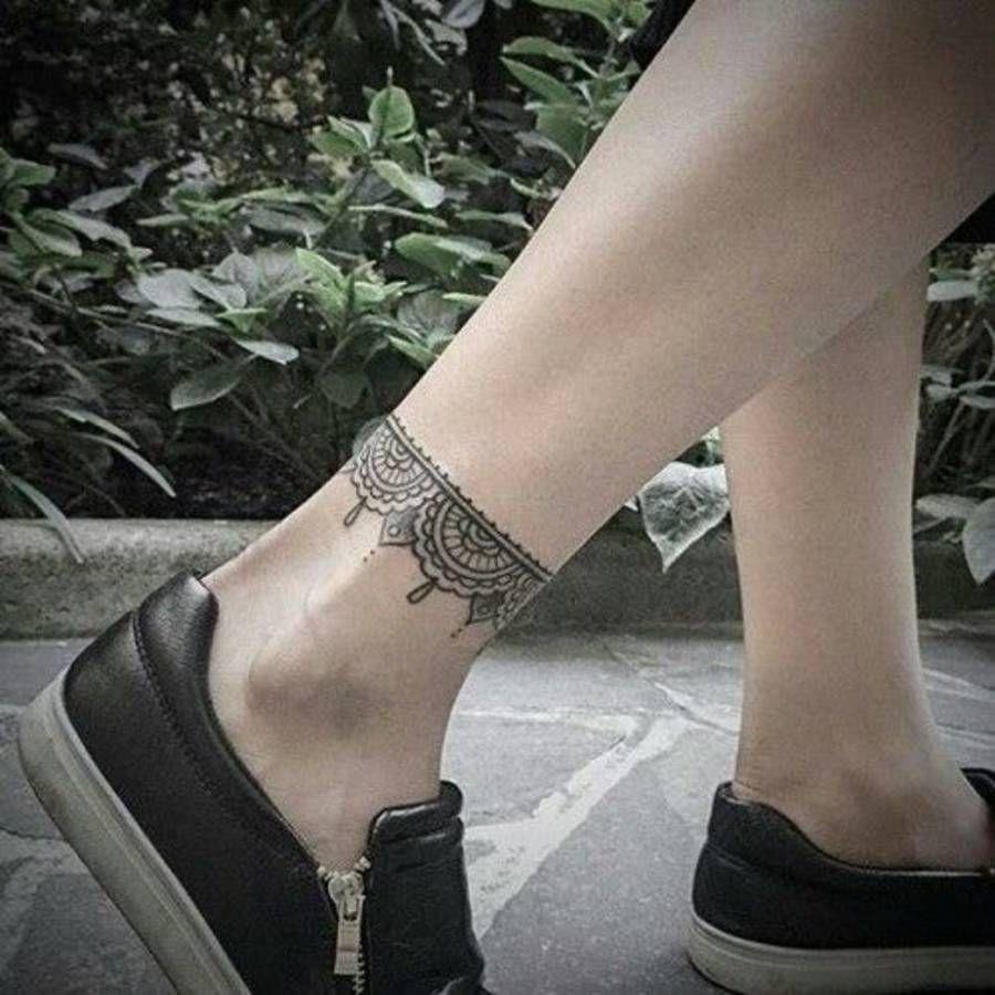 Tatouage dentelle cheville | tatoo | Ankle tattoo designs, Tattoos, Ankle tattoo