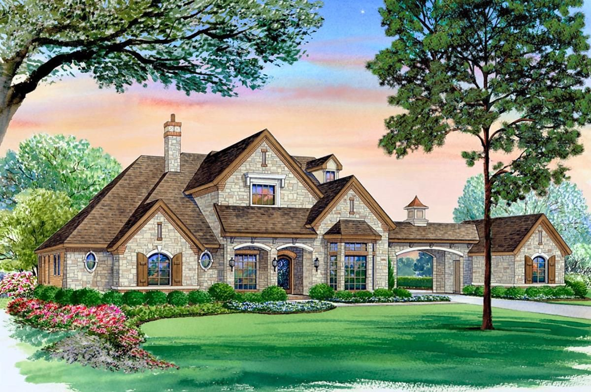 House Plan 5445 00320 European Plan 5 518 Square Feet 5 Bedrooms 6 Bathrooms Courtyard House Plans Country Style House Plans European House Plans