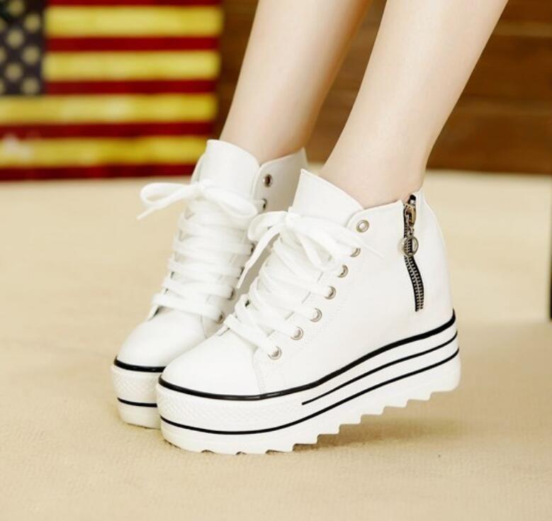 fc65e51257fd Womens Zipper Sneakers Canvas High Top Platform Lace Up Casual Shoes Us Size