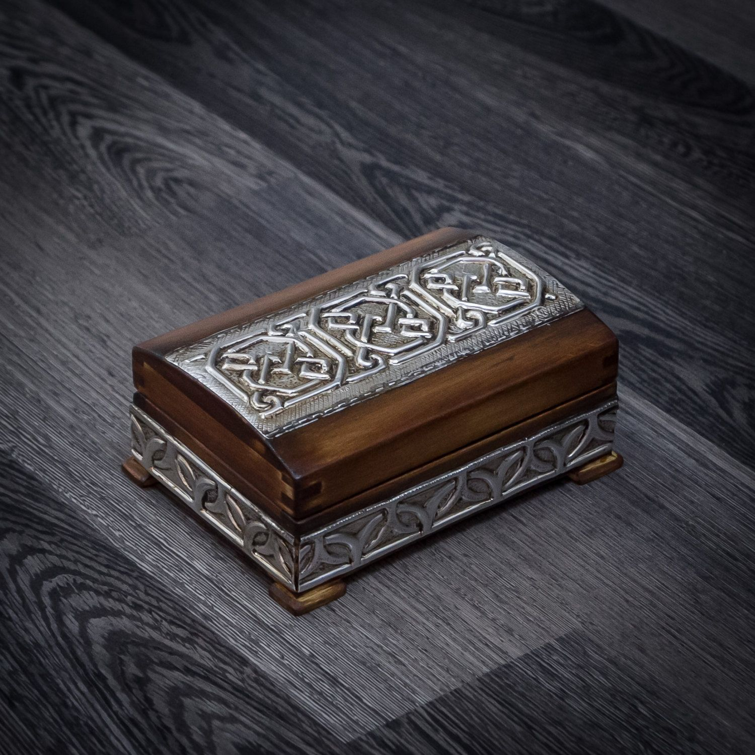Wooden jewelry box for men and womenCeltic knot boxSmall Treasure