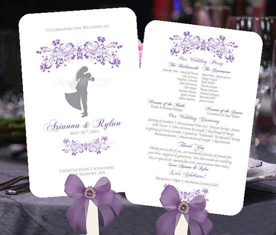 Wedding FAN Program Template Printable Light PURPLE Fleurs