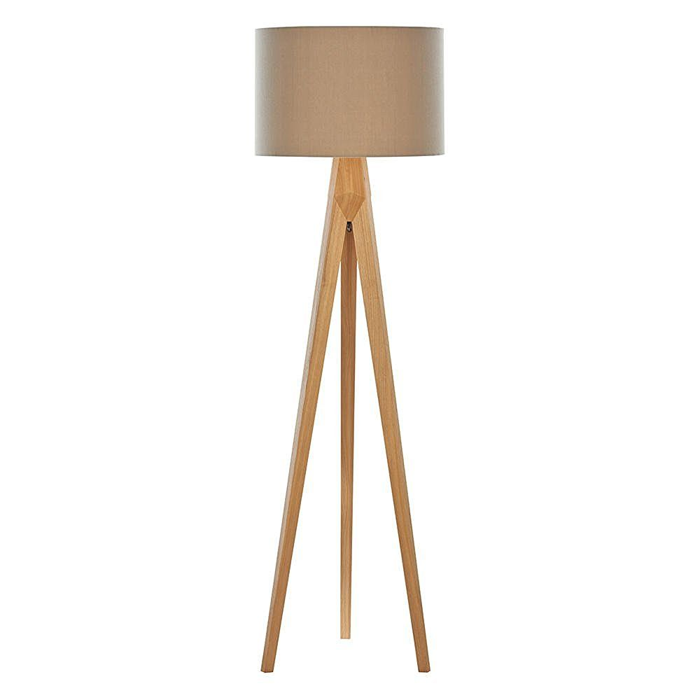 1 Light Wooden Tripod Floor Lamp With Latte Coloured Shade Wood Amazon Co Uk Office Products Wooden Floor Lamps Tripod Floor Lamps Tripod Floor Light