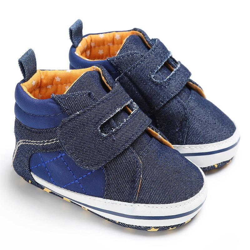Crib Shoes for Baby Boy Girl Infant First Walkers Sneakers Toddler Shoes Soft Sole Anti-Slip Breathable Casual Flats Blue, 6-12M